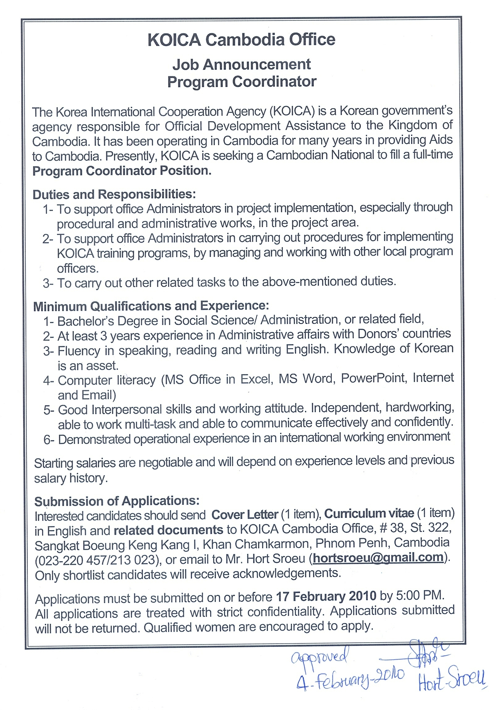 KOICA Cambodia Office Job Announcement Program Coordinator – New Job Announcement Letter